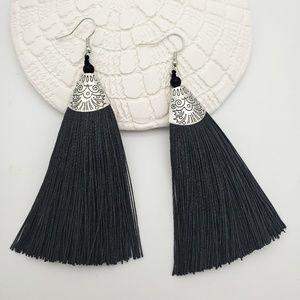 Black Tassel Silver Filigree Dangle Earrings